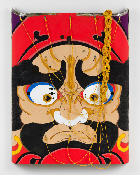 Claire Healy and Sean Cordeiro Daruma, 2020; Kiowa FWD helicopter shell assembly, acrylic gouache, polyester line; 157 x 125 x 14 cm; enquire