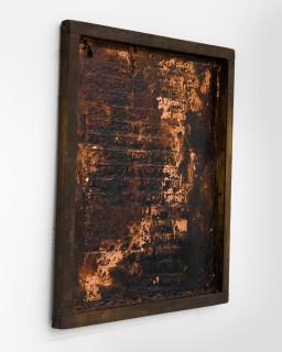 Kirtika Kain The Solar Line XXI, 2020; Tar, copper leaf, beeswax, disused silk screen; 67 x 59 cm; enquire