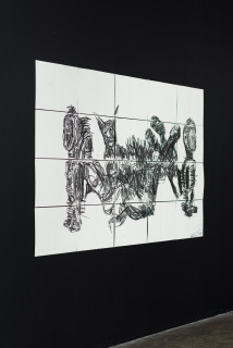 installation view; Pierre Mukeba Sin For Sale, 2021; charcoal on archival paper; 120 x 210 cm; enquire