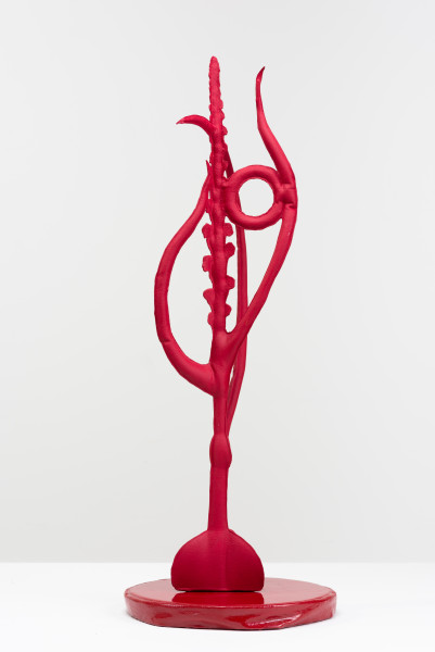 Caroline Rothwell Pot plant carmin red (Microtis unifolia after R Fitzgerald), 2018; Hydrostone, canvas, aluminium, epoxy glass, vinyl paint; 77 x 26 x 26 cm; AUD 14,000.00; Enquire