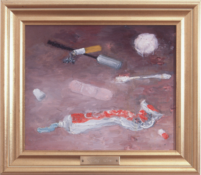 Fiona Hall Lying Low, 1996; oil on canvas; 34 x 39 cm; framed size; enquire