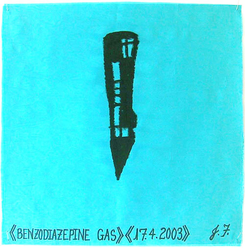 Jacqueline Fraser Benzodiazepine Gas >, 2003; from the series AN ELEGANT PORTRAIT REFINED IN ELEVEN STUDIOUS PARTS >; oil stick on fabric (framed); 32 x 32 cm; enquire