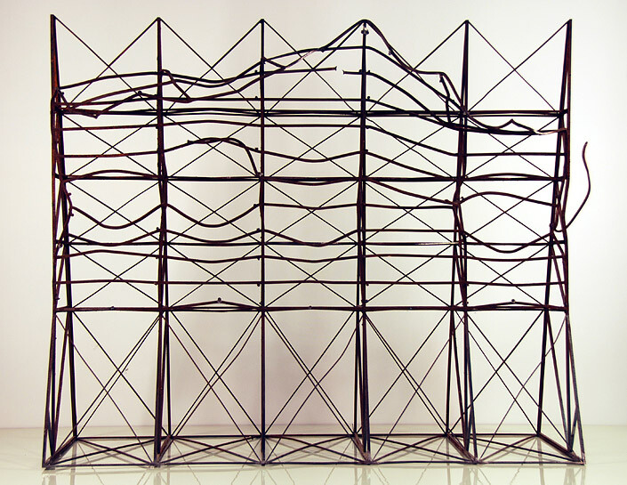 Callum Morton Screen #27: Blow up, 2011; steel; 93 x 110 x 45.5 cm; table 88 x 115 x 49.5 cm; enquire