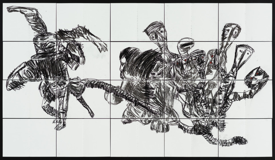 Pierre Mukeba Talking Parrot, 2021; charcoal and pastel on archival paper; 120 x 210 cm; enquire