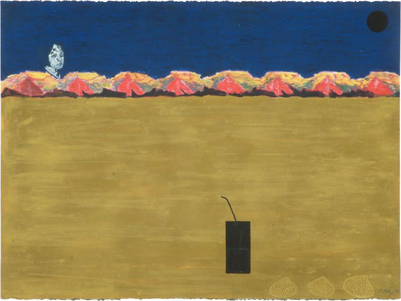 Fiona Foley Eliza's Trap, 1990; pastel, aquarelle, ink, oil stick and pencil on paper; 57 x 76.5 cm; enquire