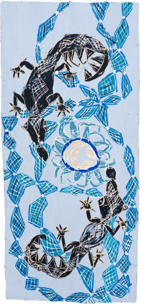 Dhambit Munuŋgurr BiranyBirany, 2021; 4660-21; earth pigments and acrylic on bark; 244 x 110 cm; enquire