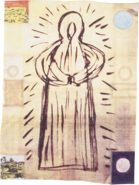 Geoff Lowe Spirit, 1992; laserprint, watercolour, synthetic polymer paint on various papers; 212 x 160 cm; enquire