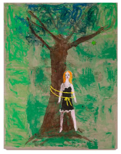 Jenny Watson Tie a yellow ribbon, 2018; acrylic, Japanese pigments, haberdashery on rabbit skin glue primed Belgian linen; 243.5 x 190 cm; enquire