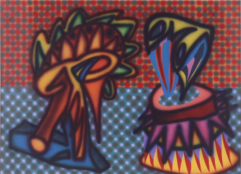 Howard Arkley Conophytums, 1984; synthetic polymer on rag paper; 77 x 107 cm; enquire