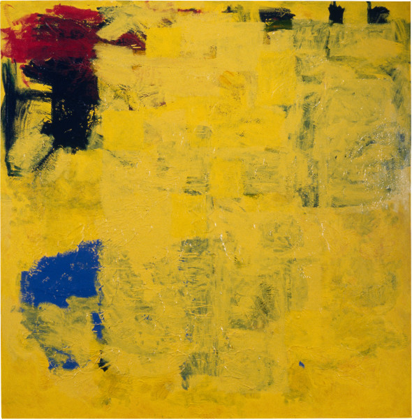 Dale Frank The Yellow Boring Painting, 1996; fluro, acrylic and enamel on linen; 200 x 200 cm; enquire