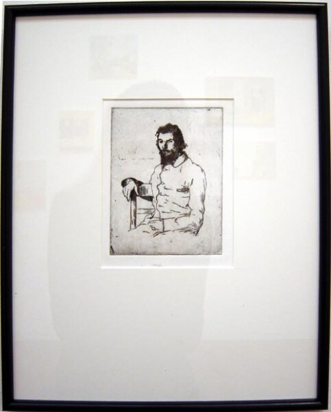 Linda Marrinon Portrait of Charles Meryon after Felix Bacquemond, 2003; drypoint etching; 39.5 x 32 cm; (framed), non-editioned; enquire
