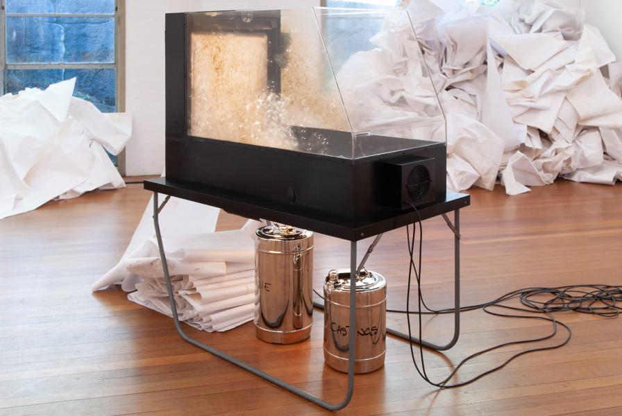 Hany Armanious Bubble Jet earth work, 2006; glycerine, worm castings, air; 159 x 80 x 140 cm; enquire