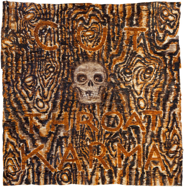 Fiona Hall Cut Throat Karma, 2013; bark cloth with earth pigments and plant dyes; 134 x 127 cm; enquire