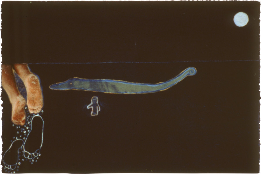 Fiona Foley By Land & Sea I Leave Ephemeral Spirit '90 I, 1990; photo collage, acrylic, oil stick and ink on paper; 38 x 56.5 cm; enquire