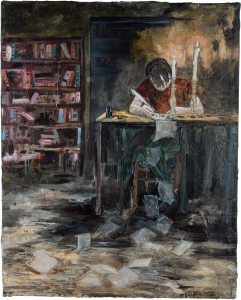 Hernan Bas Mephistopheles, at 17 (writing his black mailings), 2007; mixed media on linen; 50.8 x 40.6 cm; enquire