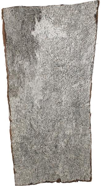 Nyapanyapa Yunupingu Black Corner, 2015; 4885C; Bark painting; 126 x 64 cm; Enquire