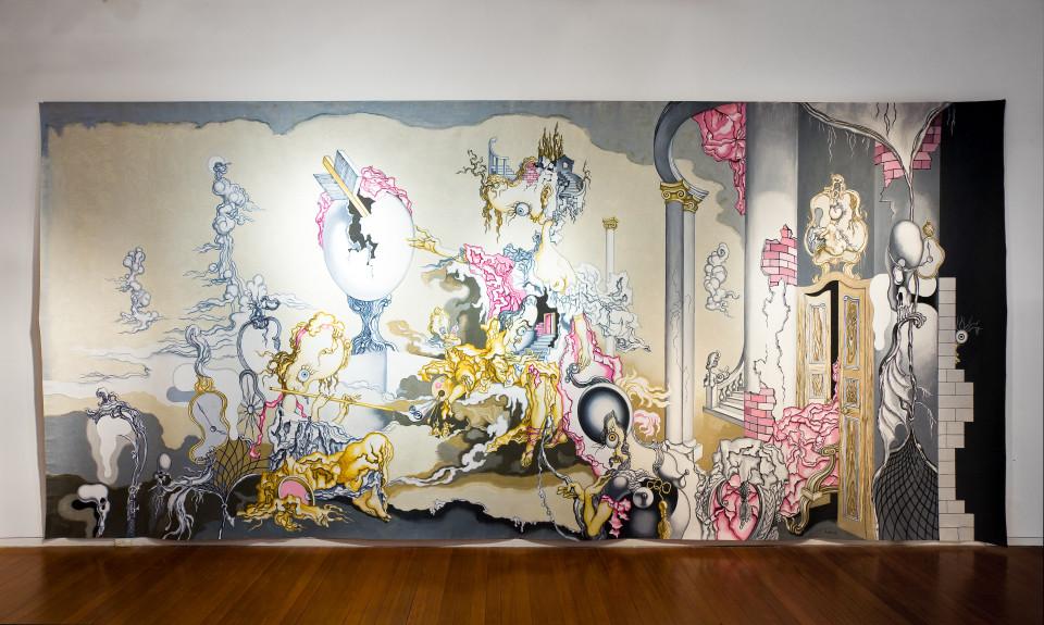 Tim Schultz The Broken Egg, 2008; acrylic on canvas; 285 x 625 cm; enquire