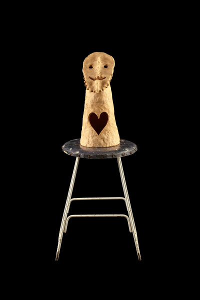 Nell guys with beards have big hearts, 2015-16; The Wake No. 14 (ERNABELLA); stoneware, metal and wooden stool; 82.5 x 34.5 x 34.5 cm; object : 36.7 x 16.7 x 15.5 cm stool : 45.8 x 34.6 x 34.6 cm; enquire