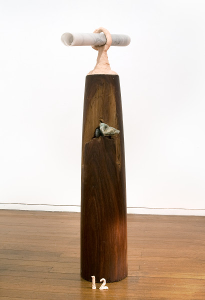 Mikala Dwyer 12, 2009; wood, rocks, molding clay, letters from the dead; 130 x 60 x 30 cm; enquire