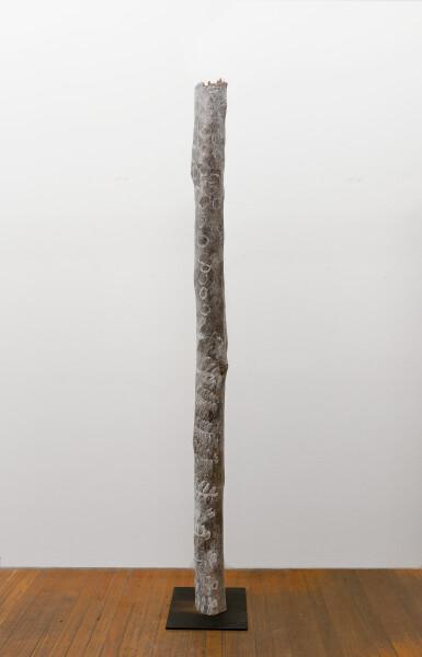 Nyapanyapa Yunupingu Dharpa, 2018; 203-18; Larrakitj: natural earth pigments on hollow log; 265 x 20 x 20 cm; enquire