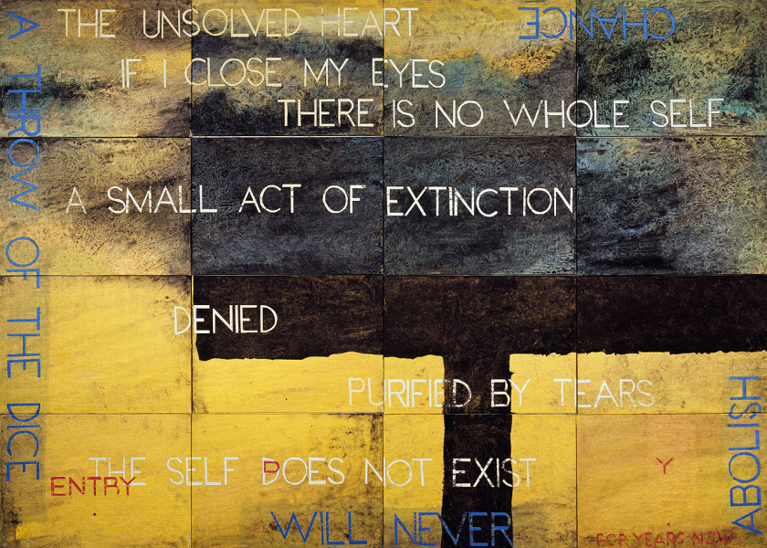 Imants Tillers Nature Speaks: DY, 2012; acrylic, gouache on 16 canvas boards, nos. 91490-91505; 101 x 141.5 cm; enquire
