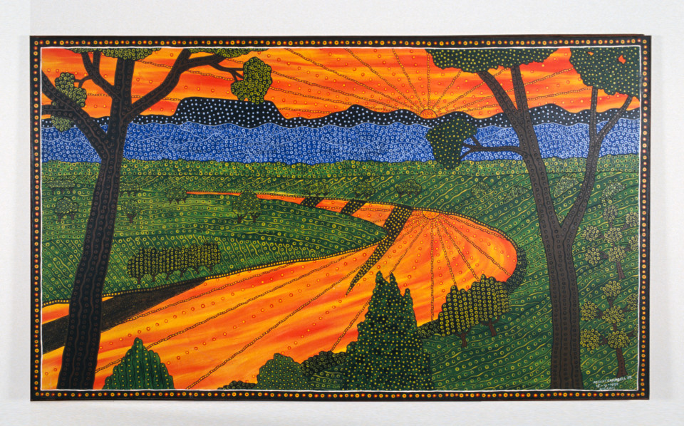 Robert Campbell Jnr Sunset over the Macleay, overlooking Euroka, 1990; acrylic on canvas; 119 x 198.5 cm; enquire
