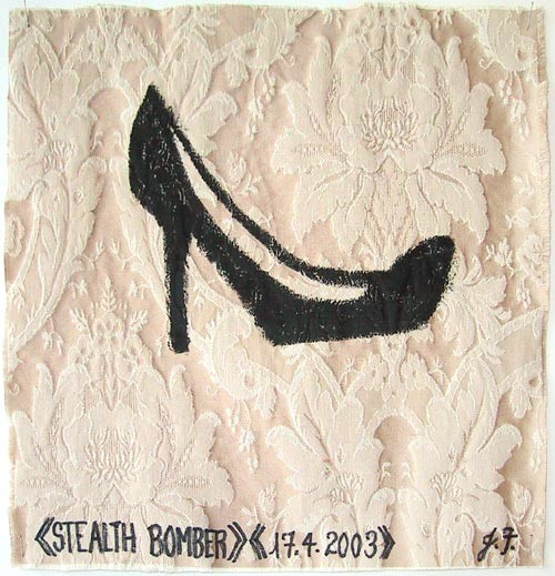 Jacqueline Fraser Stealth Bomber >, 2003; from the series AN ELEGANT PORTRAIT REFINED IN ELEVEN STUDIOUS PARTS >; oil stick on fabric (framed); 32 x 32 cm; enquire