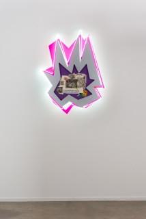 installation view; Brook Andrew This year, taste in high life..., 2020; paper, wood, neon, acrylic; 109 x 80 x 8.5 cm; enquire
