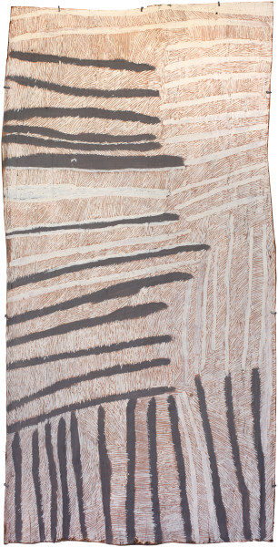 Nyapanyapa Yunupingu Pink and Grey Lines, 2017; 4516-17; natural earth pigments on bark; 174 x 88 cm; enquire