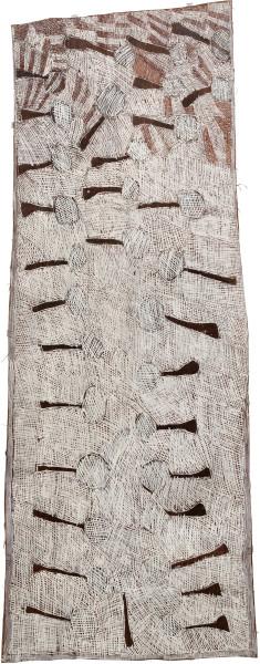 Nyapanyapa Yunupingu 9. Trees at Sunset, 2010; 3689J; Natural earth pigments on bark; 175 x 60 cm; enquire