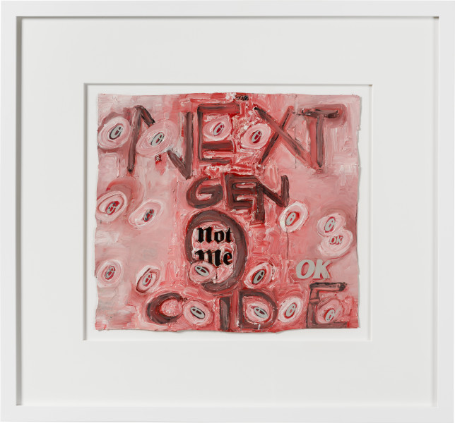 Fiona Hall next gen-o-cide, 2020; oil paint on aluminium drink cans; 54 x 58 cm; enquire