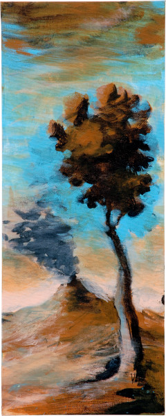 Tony Clark Landscape with Volcano, 2006; from the series Exhibited in 'Stolen Ritual', 2006; acrylic and permanent ink on canvas board; 50 x 20 cm; enquire