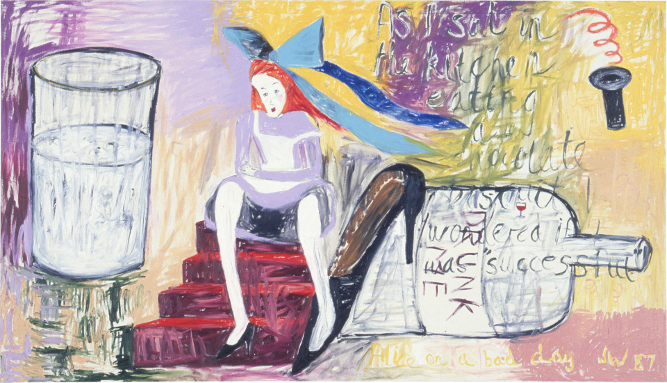 Jenny Watson Alice on a Bad Day, 1987; oil on cotton duck; 122 x 214 cm; enquire