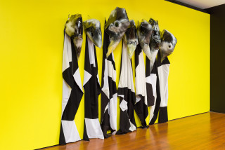 installation view; Mikala Dwyer The Nurses, 2020; plastic, acrylic paint, fabric; dimensions variable; enquire