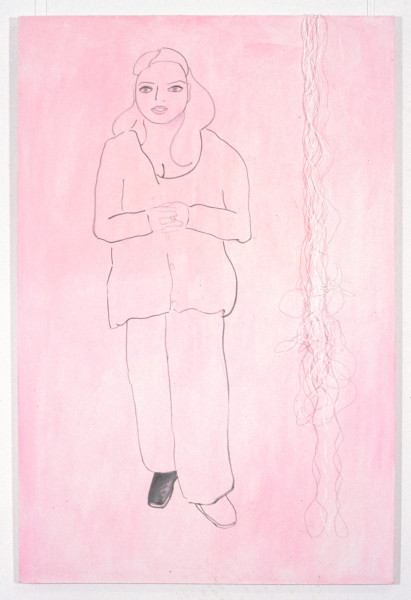 Angela Brennan Portrait of Kathy Temin with one show coloured in, 1994; oil and string on canvas; 183 x 122 cm; enquire
