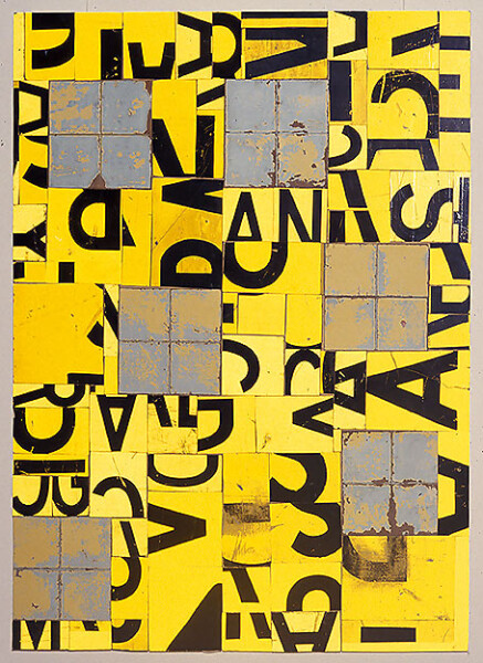Rosalie Gascoigne Windows, 1999; retro reflective roadsign and linoleum on wood; 121.5 x 89.5 cm; enquire