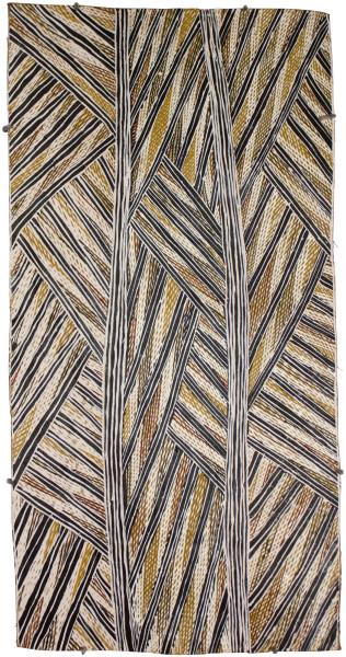 Mulkun Wirrpanda Gapu, 2015; 4520M; Bark painting; 81 x 42 cm; Enquire