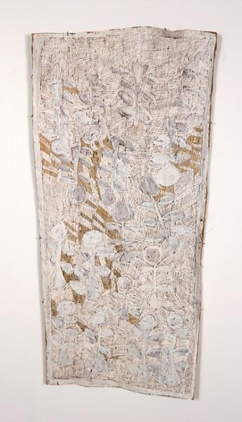 Nyapanyapa Yunupingu 10. Untitled, 2013; 4402P; natural earth pigments on bark; 150 x 75 cm; enquire