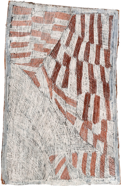 Nyapanyapa Yunupingu 22. Pink and White Painting #1, 2009; 3590Z; Natural earth pigments on bark; 112 x 72 cm; enquire