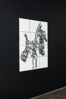 installation view; Pierre Mukeba Anatomical Observation, 2021; charcoal on archival paper; 120 x 126 cm; enquire