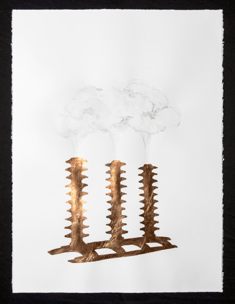 Caroline Rothwell Marine Cloud Brightening Vessel, 2014; Copper leaf, vehicle exhaust emission, acrylic binder on Arches hot pressed archival paper; 76 x 57cm (paper), 80.5 x 61.5cm (framed); enquire