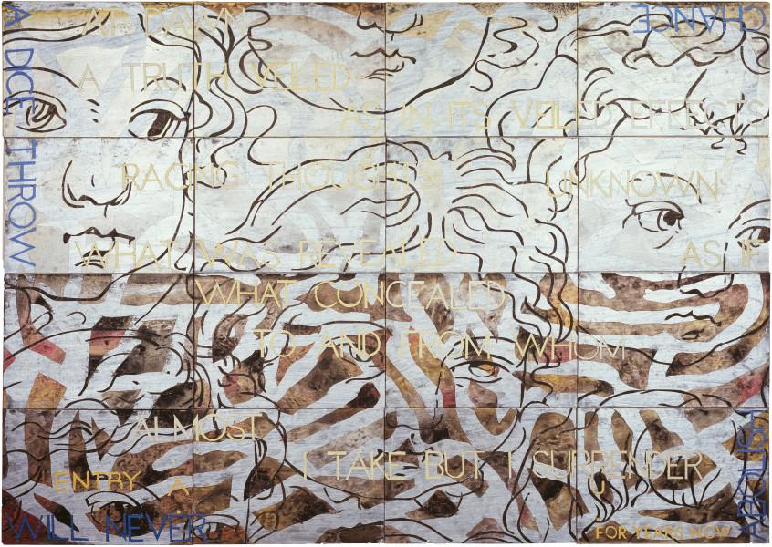 Imants Tillers Nature Speaks: AU , 2008; acrylic, gouache on 16 canvasboards nos. 81284 - 81299; 101.6 x 142.2 cm; enquire