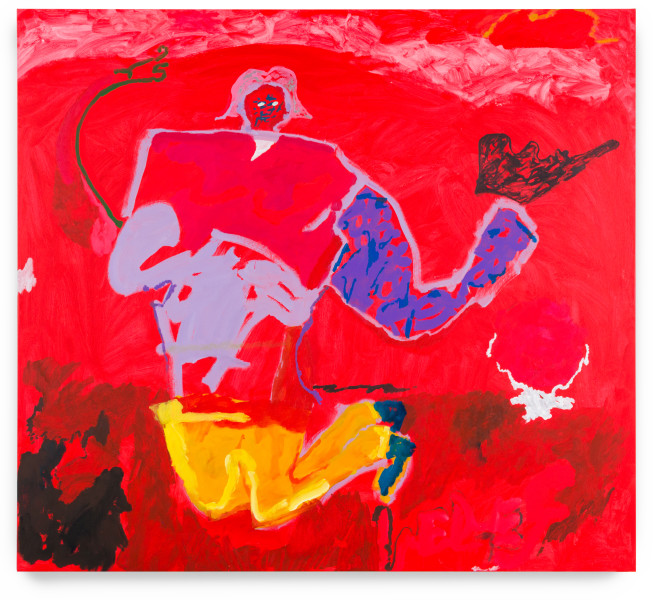 Tom Polo with red relief, 2019; acrylic on canvas; 200 x 220 cm; enquire