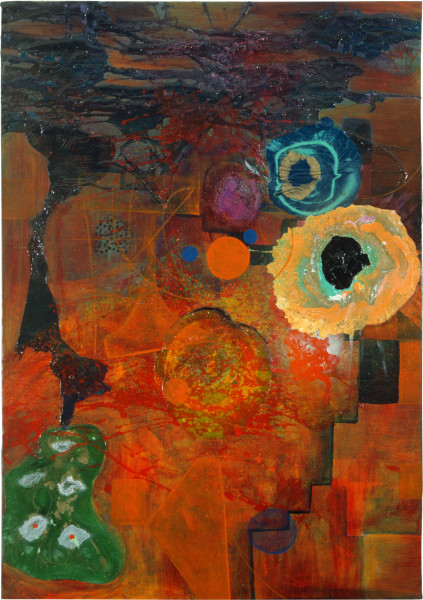 Dale Frank The Aesthetic Blue Boy and the Orange Abstraction of Mind, 1986; acrylic & mixed media on canvas; 100 x 70 cm; enquire