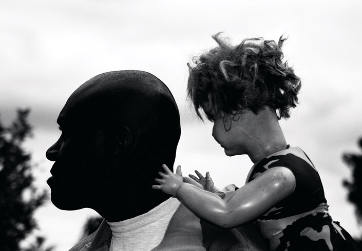 Destiny Deacon Man & Doll (a), 2005; lightjet print from orthochromatic film negative; 81 x 111.2 cm; Commissioned by the Australian Centre for Contemporary Art as part of NEW05; Edition of 15; enquire
