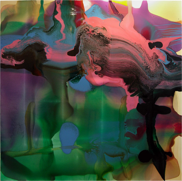 Dale Frank John and Mathew both instinctually regretted not having pushed the issue further. She had them over a barrel dealing what she dealt hiding her own regret in them., 2006; varnish on canvas; 200 x 200 cm; enquire