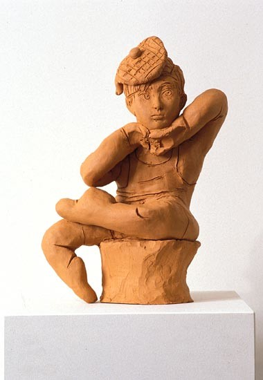 Linda Marrinon Seated Figure with Tam O'Shanter, 1994; terracotta; 34 cms high; enquire