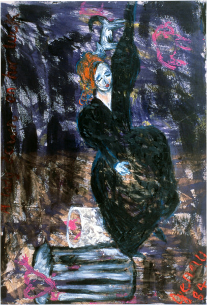 Jenny Watson A Lady Down on Her Luck, 1984; oil, ink, dulux, horsehair on duck; 170 x 112 cm; enquire