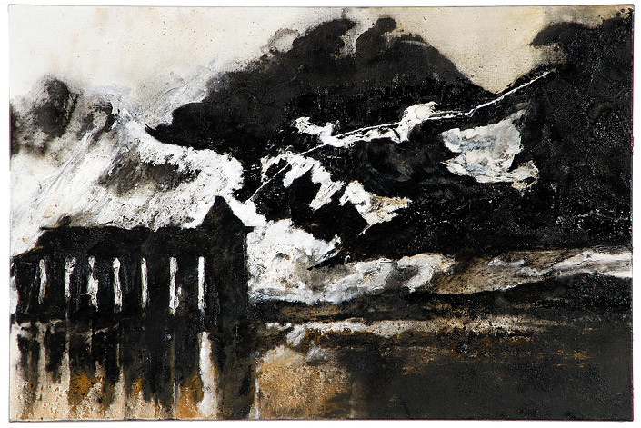 Mandy Martin Wanderers in the desert of the real; Thunderstorm over Paestum, after Turner, 2008; Ochre, pigment, and oil on linen; 100 x 150 cm; enquire