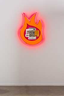 installation view; Brook Andrew This year, the fallen race..., 2020; paper, wood, neon, acrylic; 94 x 69 x 8.5 cm; enquire